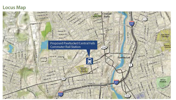 THIS IS THE site of the proposed Pawtucket/Central Falls commuter rail station. The project was awarded a $13.1 million federal TIGER grant. / COURTESY R.I. DEPARTMENT OF TRANSPORTATION