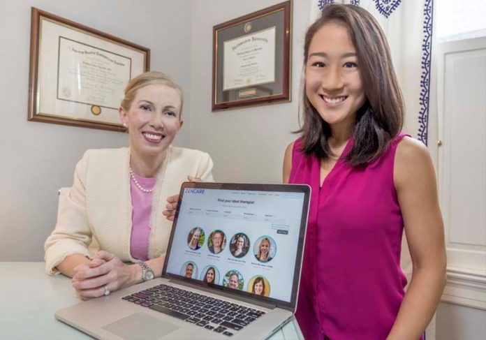 A NEW HEALTH CARE TOOL: Yuri Tomikawa, right, has created Zencare, an online resource for people looking for mental health care. With her is her medical adviser Dr. Stephanie Hartselle. / PBN PHOTO/ MICHAEL SALERNO