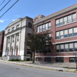 The former Woonsocket Middle School, an attached configuration of four buildings, is the subject of a request for redevelopment proposals. / COURTESY CITY OF WOONSOCKET