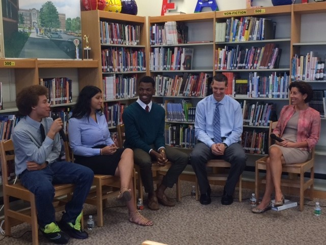 GOV. GINA M. RAIMONDO speaks with a group of Central High School students who participated in the Prepare RI initiative, which helped high school students take college courses for credit. / COURTESY OFFICE OF THE GOVERNOR