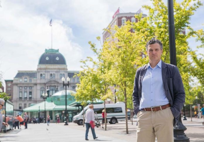 CHANGE IN STORE: Joe Haskett, senior associate at Union Studio Architecture and Community Design, is seen at Kennedy Plaza, which he says could be revitalized by design and programming. / PBN PHOTO/TRACY JENKINS