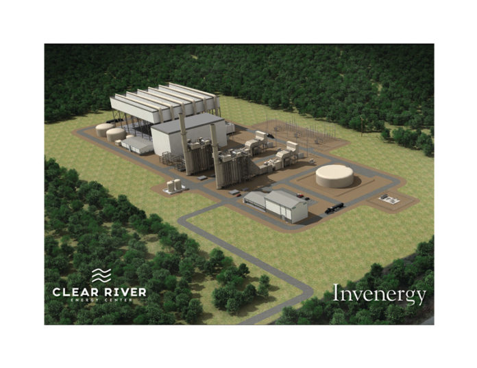 A RENDERING of the proposed natural gas-powered electrical plant in Burrillville. State regulators on Thursday unanimously voted to suspend the application, allowing Invenergy Thermal Development LLC 60 days to provide details on how it plans to cool the proposed facility. / COURTESY INVENERGY LLC