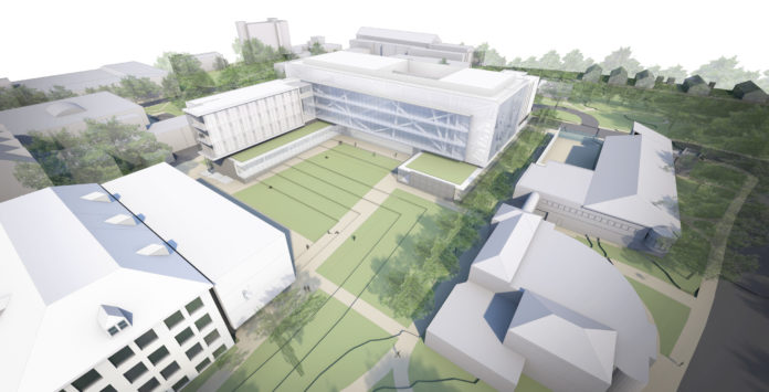 THE RENDERING OF the new College of Engineering campus at the University of Rhode Island; the proposed project includes the replacement of five mid-century buildings with a modern engineering campus. / COURTESY BALLINGER ASSOCIATES