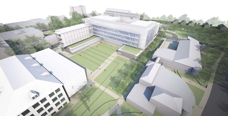 CAMPUS BUILDING: The rendering of the proposed new College of Engineering campus at University of Rhode Island includes new construction at lower left, and the renovation of Bliss Hall, at right. / COURTESY BALLINGER ARCHITECTS