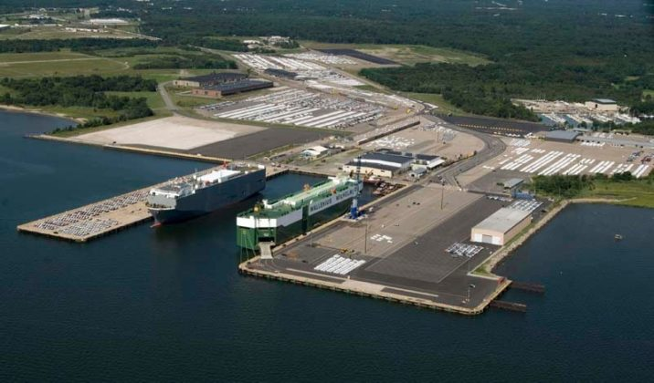 READY TO GROW: The Port of Davisville, in North Kingstown, is shown in this recent photograph. If Rhode Island voters approve, $50 million will be used to improve and modernize Pier 2, at lower right, allowing it to accept more vessels. / COURTESY QUONSET DEVELOPMENT CORP.