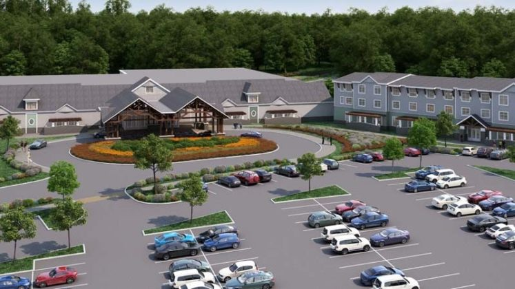 HIGH STAKES: This rendering of the proposed Twin River Tiverton casino shows a facility intended to blend in with New England-style architecture. The facility will include 85,000 square feet of interior space, and a parking lot for 1,100 vehicles. / COURTESY WINNER & MANDABACH CAMPAIGNS