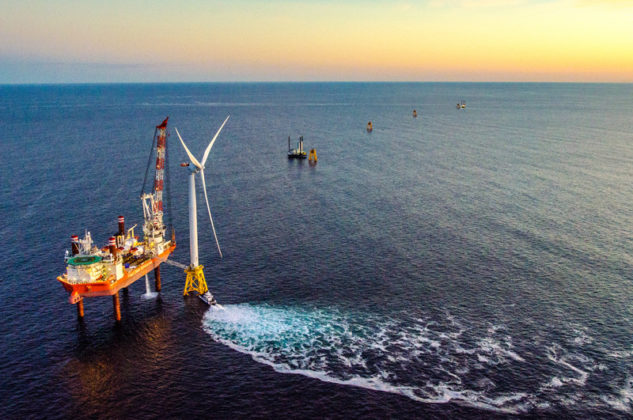 COASTAL NEIGHBOR: Deepwater Wind's five-turbine offshore wind farm was erected less than three miles off the southeast coast of Block Island. / COURTESY DEEPWATER WIND