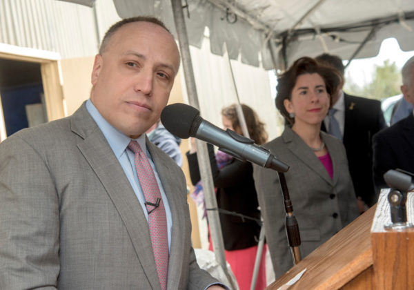 BIG PLANS: Deepwater Wind CEO Jeff Grybowski, left, and Gov. Gina M. Raimondo mark the beginning of construction for the Block Island Wind Farm at Quonset Business Park in April 2015. / PBN FILE PHOTO/MICHAEL SALERNO