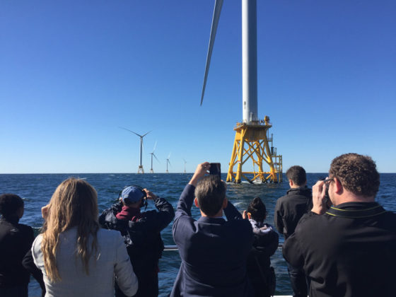 MAKING HISTORY: Passengers aboard the Ava Pearl, a high-speed catamaran owned by Rhode Island Fast Ferry, tour the nation's first offshore wind farm off the coast of Block Island. / PBN PHOTO/ELI SHERMAN