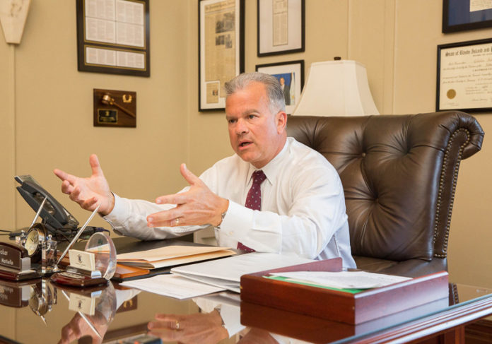 DEMOCRAT NICHOLAS A. MATTIELLO has retained the Speaker of the House position in the General Assembly following a counting of the mail ballots for his Cranston district. He was behind Republican Steven Frias until the Board of Elections completed its counting on Thursday. / PBN FILE PHOTO/TRACY JENKINS