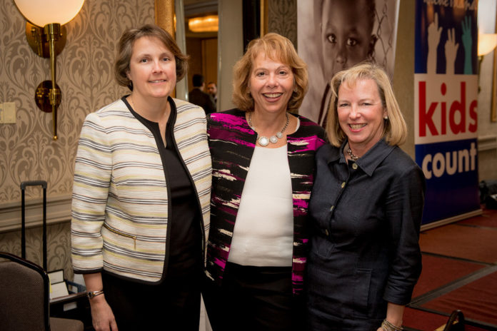 CHILD HEALTH CARE advocates, from left, Jill Beckwith, Rhode Island KIDS COUNT deputy director; Deb Florio, deputy Medicaid director and CHIP director at the Rhode Island Executive Office of Health and Human Services; and Elizabeth Burke Bryant, Rhode Island KIDS COUNT director, gather after the organization's Nov. 14 luncheon. / COURTESY RHODE ISLAND KIDS COUNT
