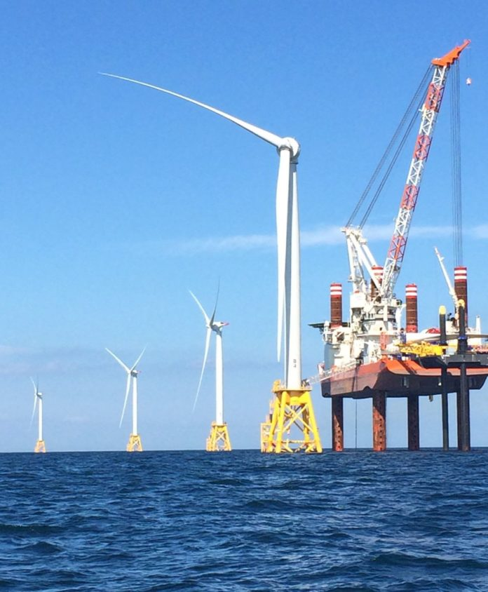 WORK IS NEARLY complete on the first U.S. wind firm off the shore of Block Island by Deepwater Wind LLC. / BLOOMBERG NEWS