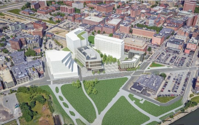AN AERIAL VIEW of the life sciences and innovation center that Wexford Science & Technology has been approved to build in the former Interstate 195 land in Providence. The first phase of the development is estimated to cost $158 million and will include a 170-room hotel and a 191,000-square-foot Innovation Building. / COURTESY WEXFORD SCIENCE & TECHNOLOGY