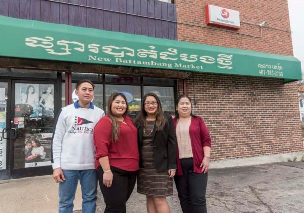 BOLD MOVE: Jenny Ounnarath, second from left, is the daughter of Laotian immigrants Khamsing Babphavong, left, and Sakounluck Ounnarath, right, who came to the U.S. in 1990 and opened the New Battambang Market on Elmwood Avenue in Providence in 2004. Kelley Babphavong, Jenny's sister, is second from the right. / PBN PHOTO/ MICHAEL SALERNO