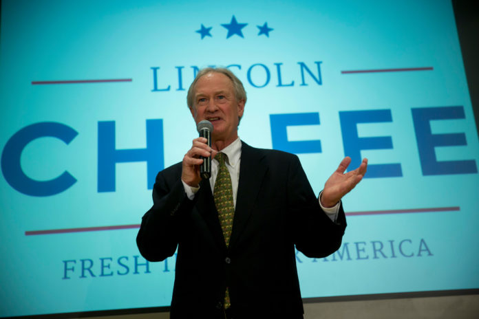 LINCOLN D. CHAFEE, former governor of Rhode Island, has been making media appearances in recent days, talking about President Donald Trump, and how he hasn't ruled out another run for president in four years.  / BLOOMBERG NEWS/ANDREW HARRER