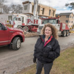NEW HOMES: Carol O'Donnell, owner of CRM Modular Homes, on-site at an installation in Narragansett. / PBN PHOTO/ MICHAEL SALERNO