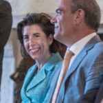 A BIG WIN: Gov. Gina M. Raimondo, while not able to lure General Electric's global headquarters to Rhode Island (the multinational chose Boston for its new home), was happy that the company decided to locate some of its new GE Digital operations in Providence. Here she is seen with GE Chief Financial Officer Jeffrey S. Bornstein. / PBN FILE PHOTO/MICHAEL SALERNO