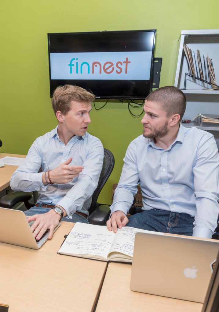 MONEY WISE: Finnest co-founders Clemens Grave, left, and Richard McDonald created the startup with a focus on teaching financial-literacy skills to children and teens. / PBN PHOTO/MICHAEL SALERNO