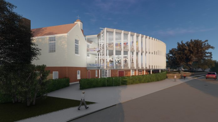 A RENDERING of the design of the new two-story addition to the science wing of the Lincoln School in Providence. Designed by LLB Architects, of Pawtucket, the 3,040-square-foot addition will feature a dramatic glass-curtain wall facing the west and 20 vertical fins, or sun shades, spaced in such a way as to create rolling shade as the sun moves. / COURTESY LLB ARCHITECTS