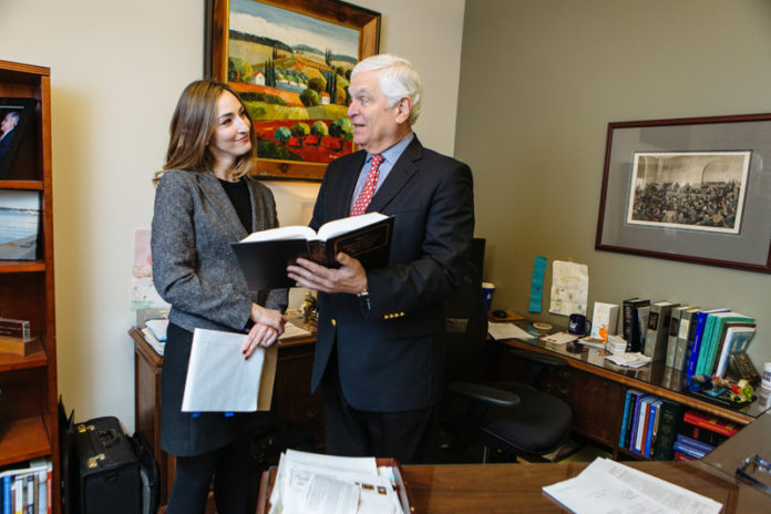 TEAMWORK: Pannone Lopes Devereaux & O'Gara attorneys Rebecca M. Murphy and Bernard A. Jackvony at the firm's Providence office. The pair worked together for five years on the case of Americans United for Life v. the Legion of Christ of North America Inc. / PBN PHOTO/RUPERT WHITELEY