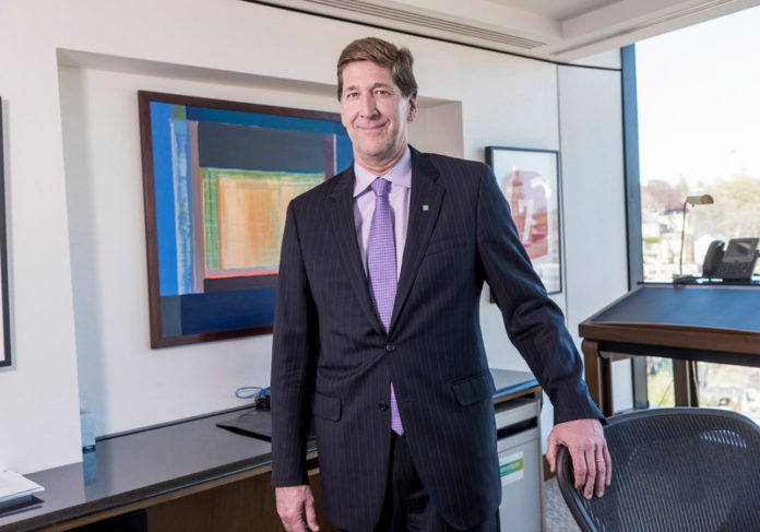 Bruce Van Saun, chairman and CEO of Citizens Financial Group Inc., in his office at 1 Citizens Plaza in Providence. / PBN FILE PHOTO/MICHAEL SALERNO