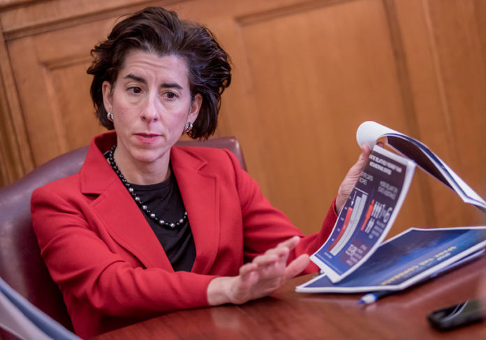 GOV. GINA M. RAIMONDO has announced the latest round of Innovation Vouchers, a total of $280,000 given to six companies that will partner will Rhode Island researchers to further develop technology and get closer to bringing it to market.  / PBN FILE PHOTO/MICHAEL SALERNO
