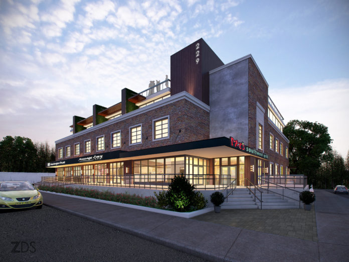 A RENDERING SHOWS the new design by ZDS Architecture & Interior Design of the office building at 229 Waterman St., in Wayland Square in Providence. The renovated building will have two additional levels of new construction, to include 19 apartments on the third and fourth floors, and a rooftop restaurant with views of Narragansett Bay and Wayland Square. Several of the apartments will have rooftop decks. / COURTESY ZDS ARCHITECTURE & INTERIOR DESIGN