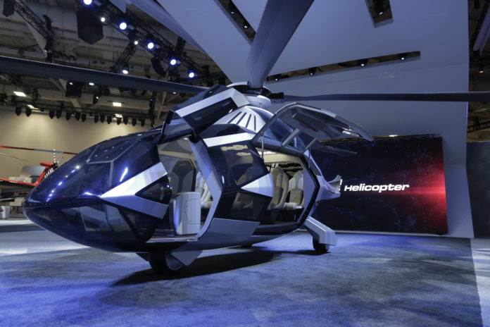 BELL HELICOPTER'S FCX-001 chopper caused a stir at a trade show last week. The helicopter displays the company's most cutting-edge technologies, / COURTESY BELL HELICOPTER