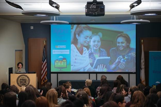 GOV. GINA M. Raimondo speaks at DigiGirlz 2017, sponsored by Microsoft and held at New England Institute of Technology on March 17. / COURTESY NEW ENGLAND INSTITUTE OF TECHNOLOGY