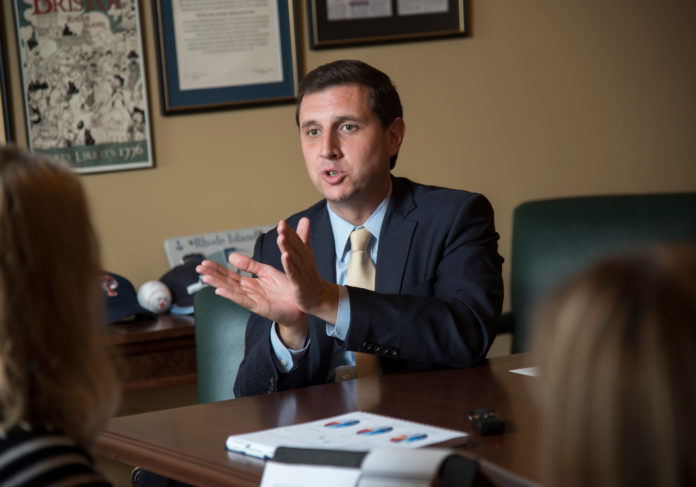 R.I. GENERAL TREASURER Seth Magaziner plans to introduce legislation that will allow municipal pension plans to more easily come under the management of the state pension system. / PBN FILE PHOTO/MICHAEL SALERNO
