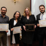 PBN STAFF WRITERS Mary MacDonald, second from right, and Eli Sherman, right, received first- and second-place awards in the News Story - In-depth category in the annual Rhode Island Press Association editorial contest for work published in 2016. Also shown is honorable mention winner Tony Pacitti, left, of Providence Monthly, and Lynn Arditi of the Providence Journal.