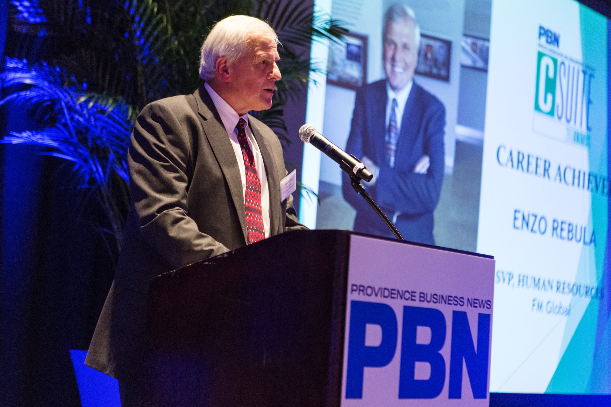 THE CAREER ACHIEVER honoree for the 2017 C-Suite Awards program, Enzo Rebula, addresses the crowd at the Omni Providence Hotel Thursday.