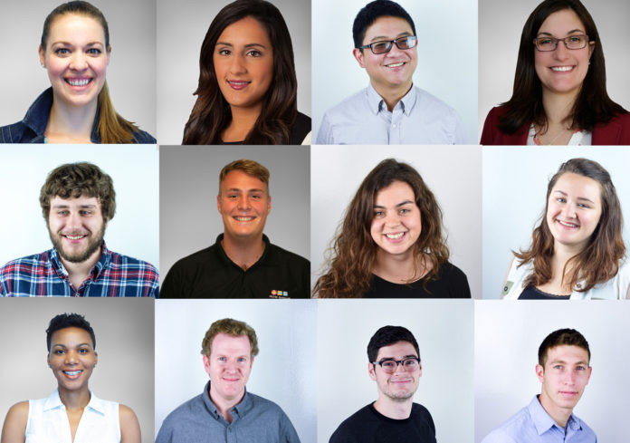 RDW Group has hired 12 new employees. From left to right, top row: Marian Visona, Bianca Micheletti, Doug Chan, Giselle Mahoney. From left to right, middle row: Eric Volkernick, Ethan Borchelt, Iona Holloway, Allison Griggs. From left to right, bottom row: Marisa Meyers, Neil Arnold, Robert Bernier, Zack Hanerfeld. /COURTESY RDW