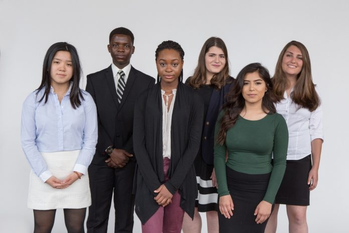 THE STUDENTS receiving scholarships from the Rhode Island Foundation are, from left to right, Ngan (Kim) Le, Mount Saint Charles Academy, Columbia University; Night Jean Muhingabo, Central High School, Johnson & Wales University; Fatou Dieng, Woonsocket High School, Smith College; Taleen Donoyan, Cranston High School West, Quinnipiac College or University of Rhode Island; Diana Iglesias, Central High School, Providence College; Kelsey Dellinger, North Kingstown High School, University of Rhode Island. /COURTESY RHODE ISLAND FOUNDATION