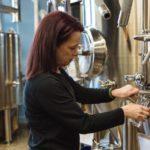ORIGINAL RECIPE: Owner Tracey Cinelli prepares a fresh beverage in her Skyroc Brewery facility in Attleboro. / PBN PHOTO/RUPERT WHITELEY