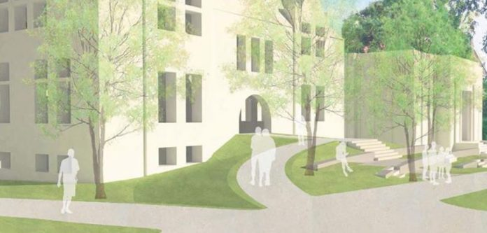 NEW ENTRYWAYS into Wilson Hall — the future Friedman Hall — will create new pathways to the College Green and Simmons Quadrangle and make the heavily used building fully accessible to individuals with disabilities. / COURTESY BROWN UNIVERSITY