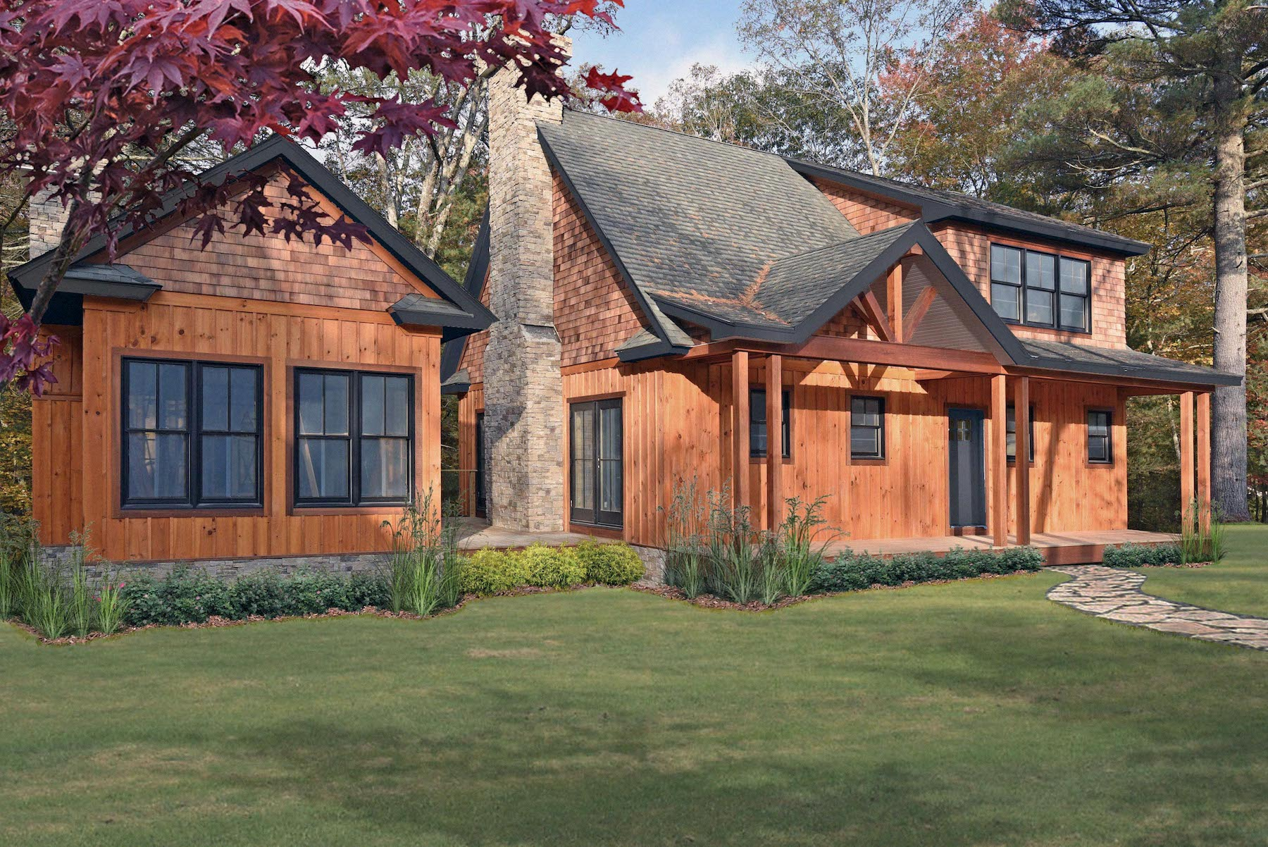 A RENDERING OF ONE OF THE CABINS available at The Preserve at Boulder Hills, a $150 million sporting lifestyle development in Richmond. /COURTESY THE PRESERVE
