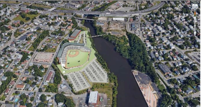 THE TIDEWATER-NATIONAL Grid site is one of two new sites that the Pawtucket Red Sox are considering for a baseball stadium in the city. /COURTESY PAWTUCKET RED SOX