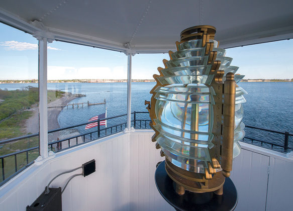 BRIGHT LIGHT: Pictured is Rose Island Lighthouse's Fresnel lens, which allows the light to be visible from great distances. / COURTESY ROSE ISLAND LIGHTHOUSE FOUNDATION