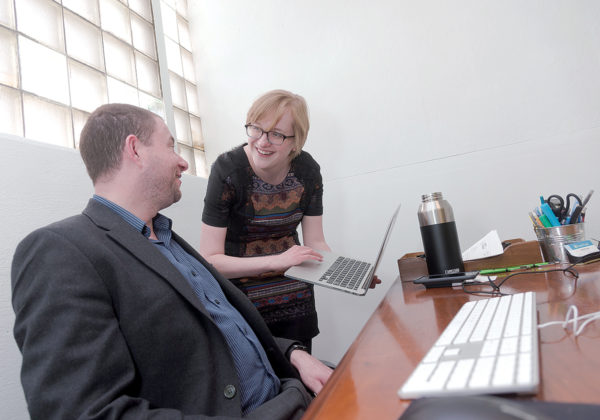 STRATEGY SESSION: Hillary Feeney, director of coaching at Providence-based Capital Good Fund, meets with Andrew ­Posner, founder and CEO. / PBN PHOTO/MICHAEL SALERNO