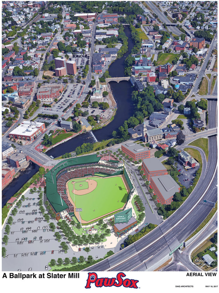 NEW PITCH: The Pawtucket Red Sox have chosen a downtown Pawtucket site for a new ballpark that would require taxpayer support. The team worked on the plan with city leaders and R.I. Commerce Corp. / COURTESY ­PAWTUCKET RED SOX