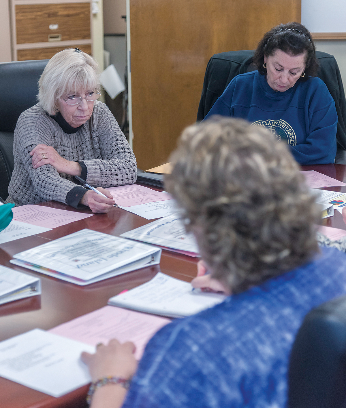 FIRST MEETING: Doreen Pezza leads the first meeting of Rhode Island Women in Agriculture. In the foreground is Heidi Quinn, Rhode Island Raised Livestock Association executive director. / PBN PHOTO/MICHAEL SALERNO