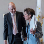 KEN WAGNER, commissioner of elementary and secondary education, with Gov. Gina M. Raimondo. PBN FILE PHOTO/ MICHAEL SALERNO
