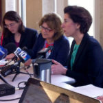 Governor Gina M. Raimondo, right, meeting with reporters last week to discuss her budget. / PBN FILE PHOTO/ MARY MACDONALD