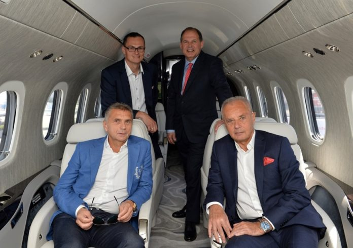 TEXTRON AVIATION EXPECTS to deliver the first Cessna Citation Longitude to the Czech airline Travel Service in 2018. From left to right: (front row) Roman Vik, Travel Service; Jiri Simane, Travel Service; (back row) Lukas Skyslak, Travel Service; Scott Ernest, Textron./COURTESY TEXTRON