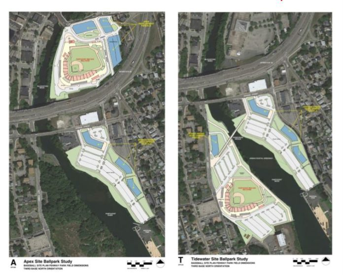 THE PROPOSED APEX AND TIDEWATER sites for a new Pawtucket Red Sox stadium in downtown Pawtucket. The Pawtucket Red Sox are expected to make an announcement on the development of a new stadium Tuesday afternoon. / COURTESY BRAILSFORD & DUNLAVEY