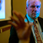 ERIC ROSENGREN, president of the Federal Reserve Bank of Boston, listens as an attendee speaks during the New York Association for Business Economics at the Harvard Club in New York,. Rosengren said that there is a great deal of uncertainty about fiscal policy, and that we are still in a risky time internationally. /BLOOMBERG ? MISHA FRIEDMAN