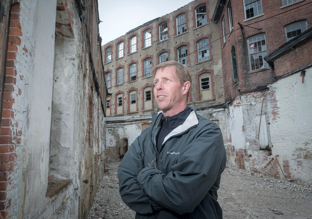 TAKING CREDIT: Developer Larry Silverstein, president of Baltimore-based Union Box Co., plans to utilize both historic tax credits and Rebuild Rhode Island incentives to convert Pontiac Mills in Warwick into housing and commercial space. / PBN PHOTO/MICHAEL SALERNO