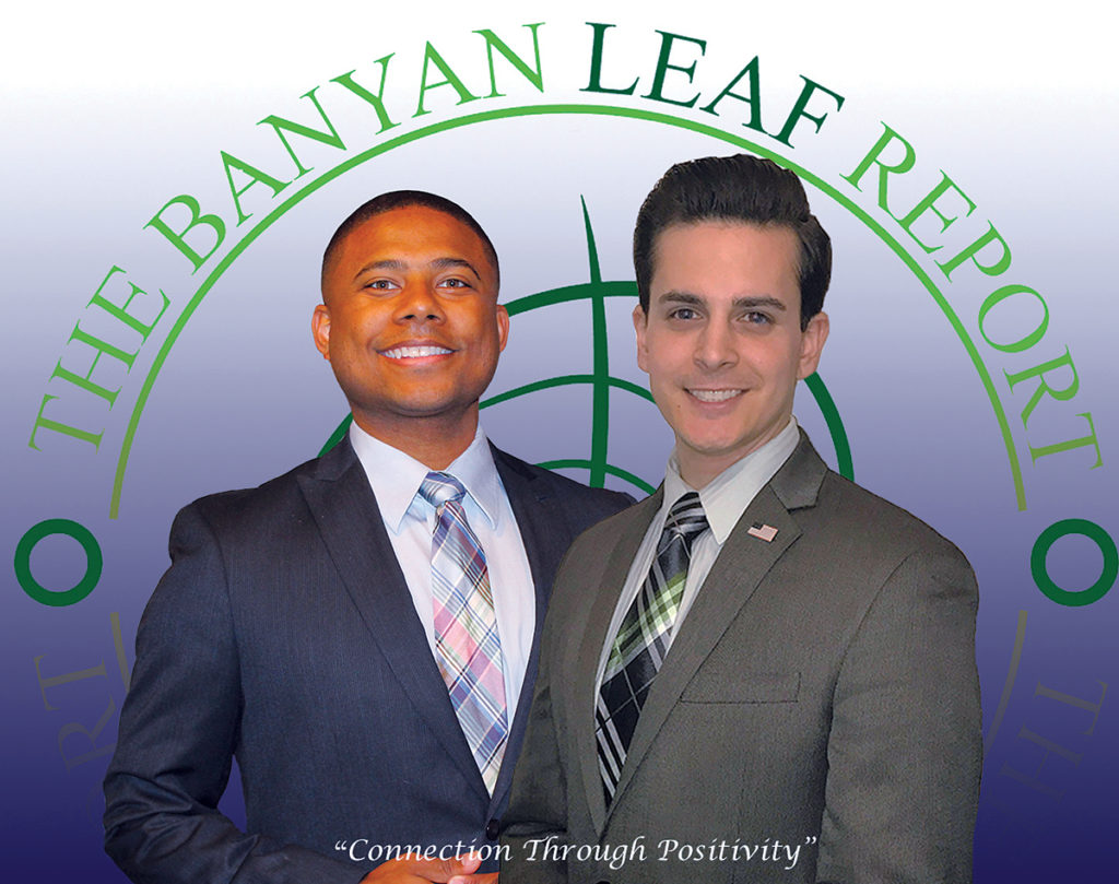SPREADING GOOD NEWS: ­Anthony M. Acosta, right, and Marcus Hagans started The Banyan Leaf Report to highlight the positive, community-focused efforts of companies that the pair felt was lacking in media reports. / COURTESY THE BANYAN LEAF REPORT