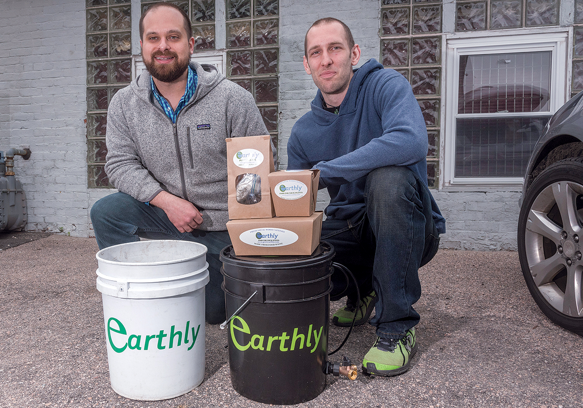 COMPOSTING CHAMPIONS: Frank Mastrobuono, left, and Mike Kowalczyk are the co-founders of Earthly, a Providence-based food-waste-management and composting company that recently took first place in the New England Cannabis Convention's Pitch Slam. / PBN PHOTO/MICHAEL SALERNO